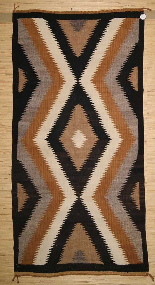 Two Grey Hills Lighting Bolt Diamonds Navajo Weaving