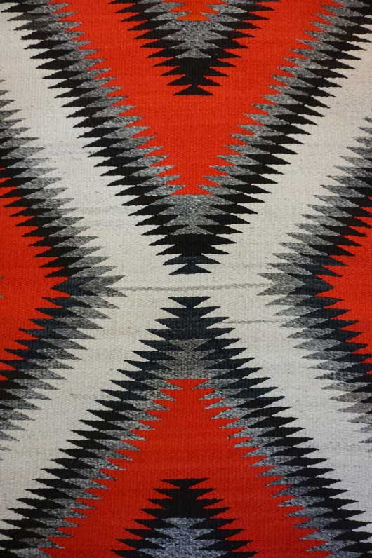 Transitional Eye Dazzler Navajo Rug Weaving Circa 1930 for Sale