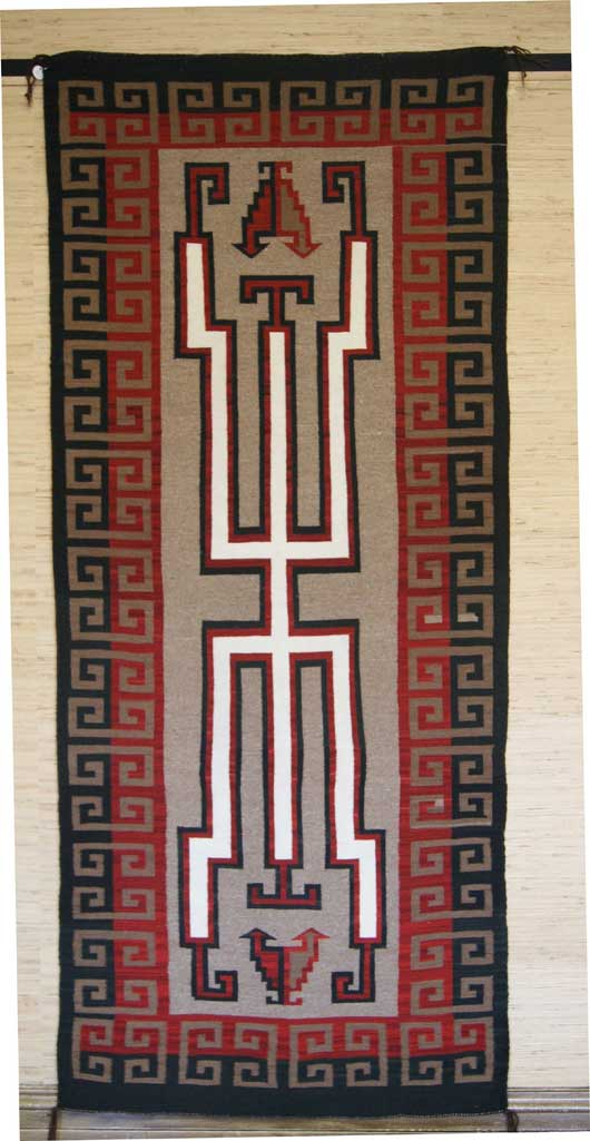 Contemporary Old Style Crystal Navajo Weaving Runner Hero Twins Navajo Rug