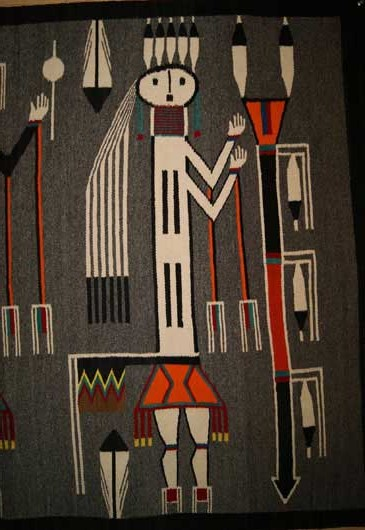Guardian Yei Sandpainting from the Nightway Ceremony Navajo Weaving