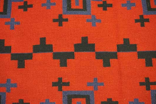 Revival of Classic Design Navajo Blanket with Spider Woman Crosses