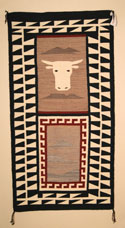 Navajo Pictorial Landscape and Cows Head Weaving by Gloria Hardy