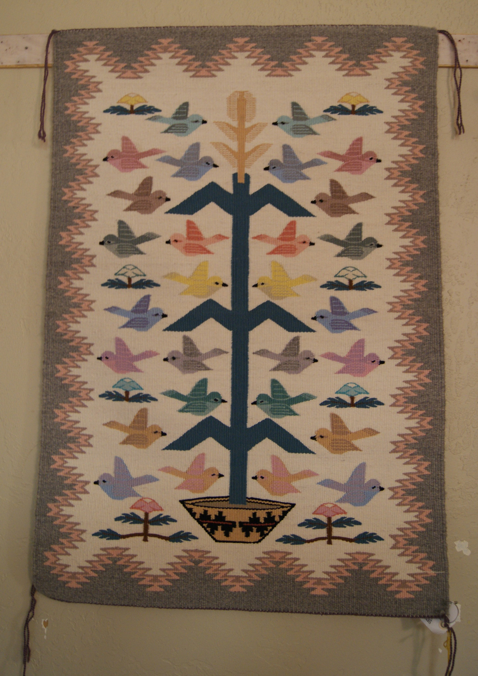 Tree Of Life Navajo Weaving With 28 Birds