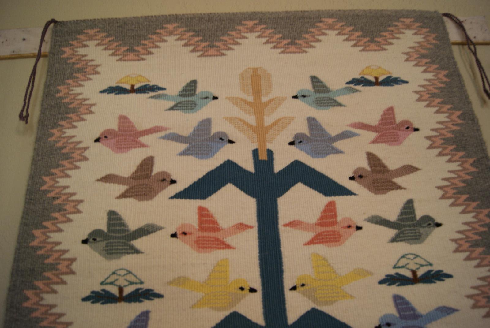 Tree Of Life Navajo Weaving With 28 Birds