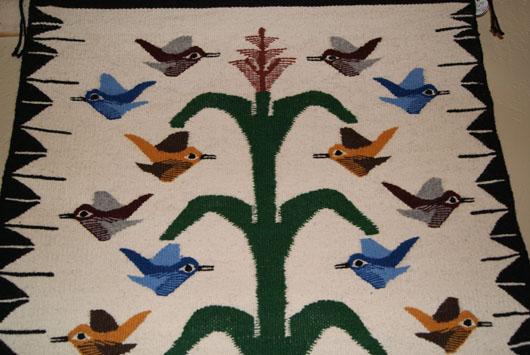 Navajo Tree Of Life With 18 Birds Weaving