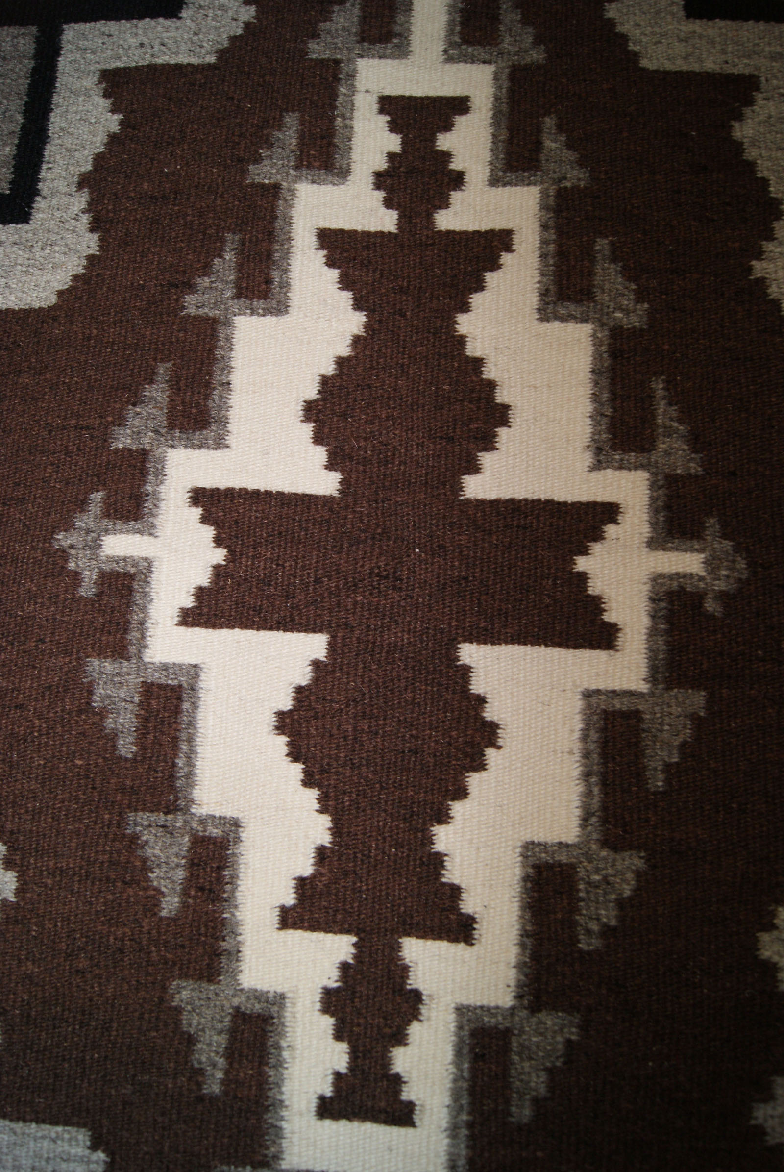 Two Grey Hills Navajo Weaving By Lorraine Mitchell
