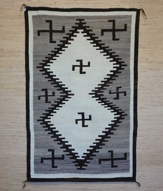 All Natural Double Diamond Navajo Rug with Whirling Logs Navajo Rug Weaving for Sale