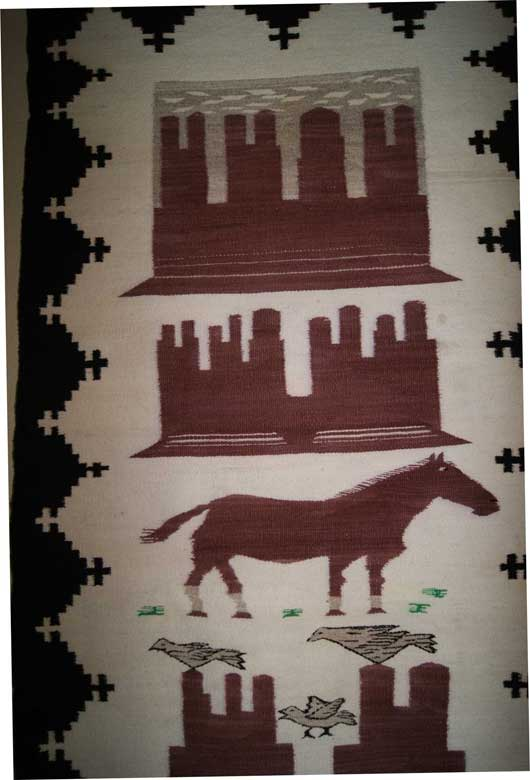 Monument Valley Pictorial Navajo Double Saddle Blanket