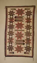 Navajo Double Saddle Blanket Pictorial with Valero Stars and Feathers