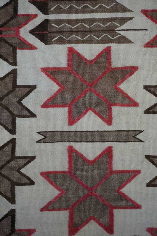 Navajo Double Saddle Blanket Pictorial with Valero Stars and Feathers Navajo Rug Weaving for Sale