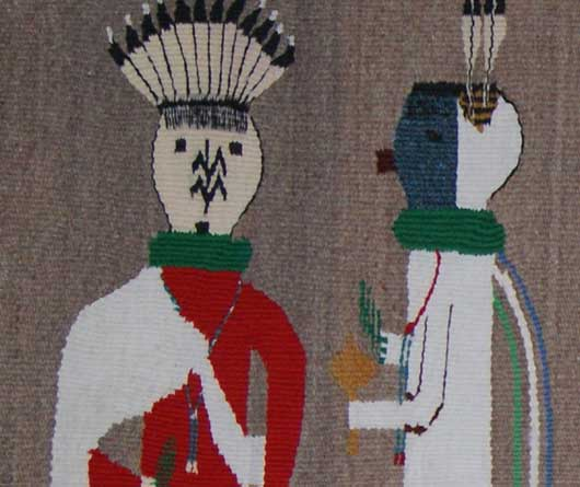 Seven Yeibechei Dancers Navajo Weaving with Talking God Leading the Way