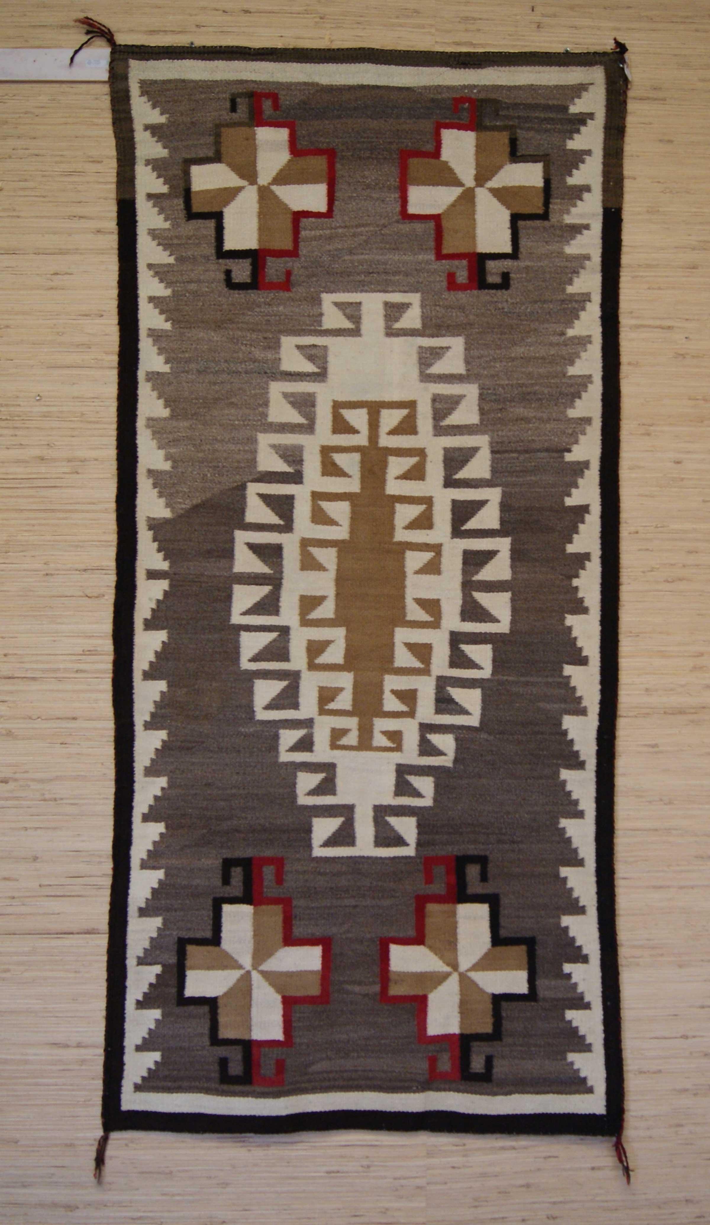 Klagetoh Navajo Double Saddle Blanket Crosses In Corners