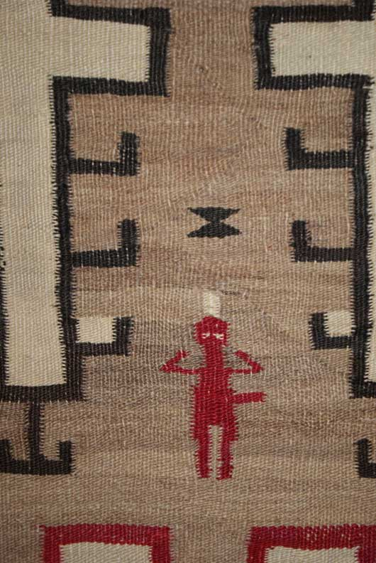 Navajo Pictorial Weaving Human Figures with Feathers