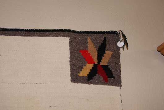 Navajo Open Field Double Saddle Blanket with Valero Stars in the Corners