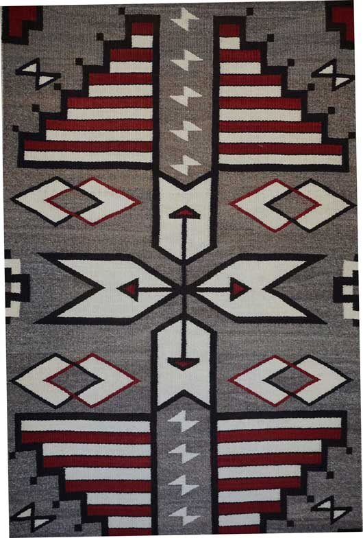 JB Moore Crystal Trading Post Pictorial Storm Pattern Variant Rug