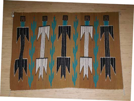 Five Yei Pictorial Navajo Weaving With Corn Plants