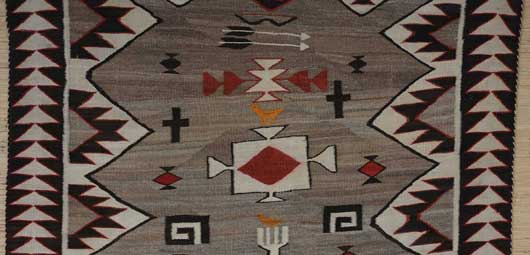 Navajo Yei Pictorial with Two Small Orange Birds and Bows and Arrows