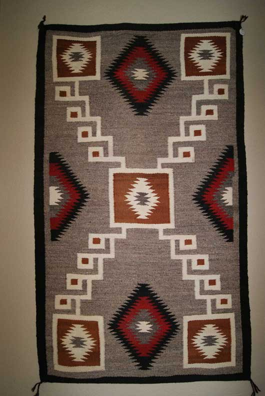 Navajo Storm Pattern Double Saddle Blanket
