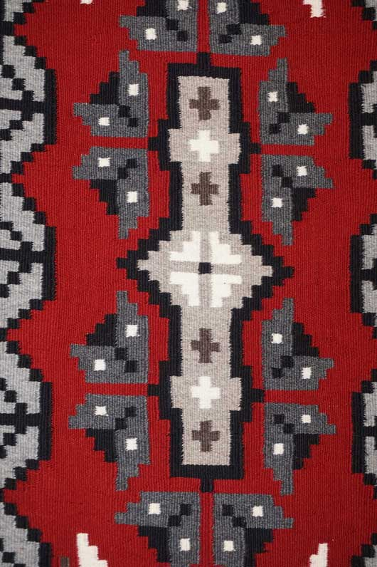 Ganado Navajo Weaving with Snowflake Pattern