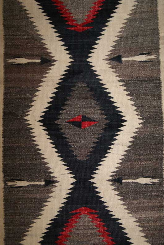 Pictorial Navajo Double Saddle Blanket with Diamond in Center and Two Half Diamonds and Arrows