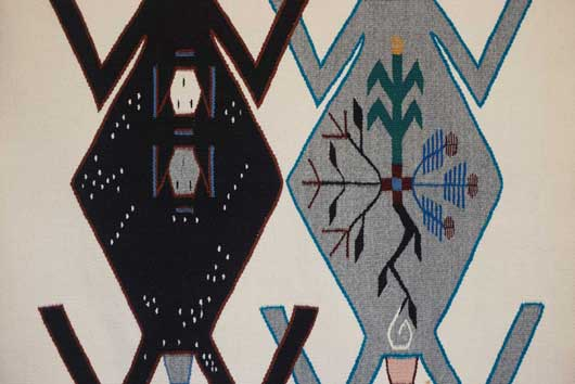 Navajo Sand Painting Weaving Depicts Mother Earth And