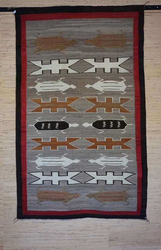 Featured ten Lizards Facing each other Navajo Rug for Sale No. 813