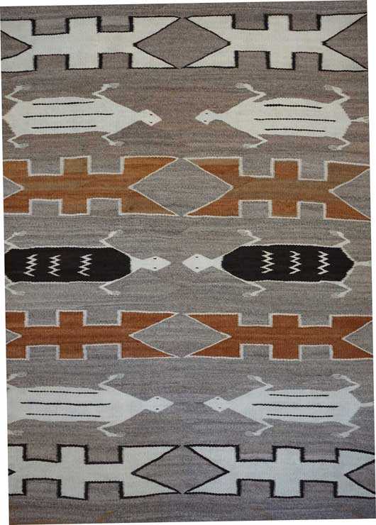 Pictorial Navajo Rug with Ten Lizards a Sand Painting Variant