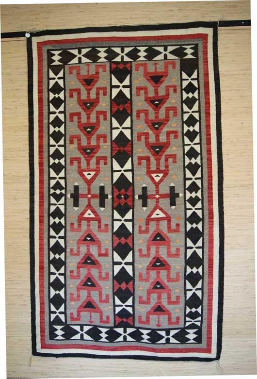 Navajo Rug With Stylized Hero Twins Symbol 824