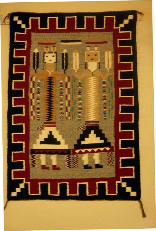 Two Female Yei Navajo Rug Weaving