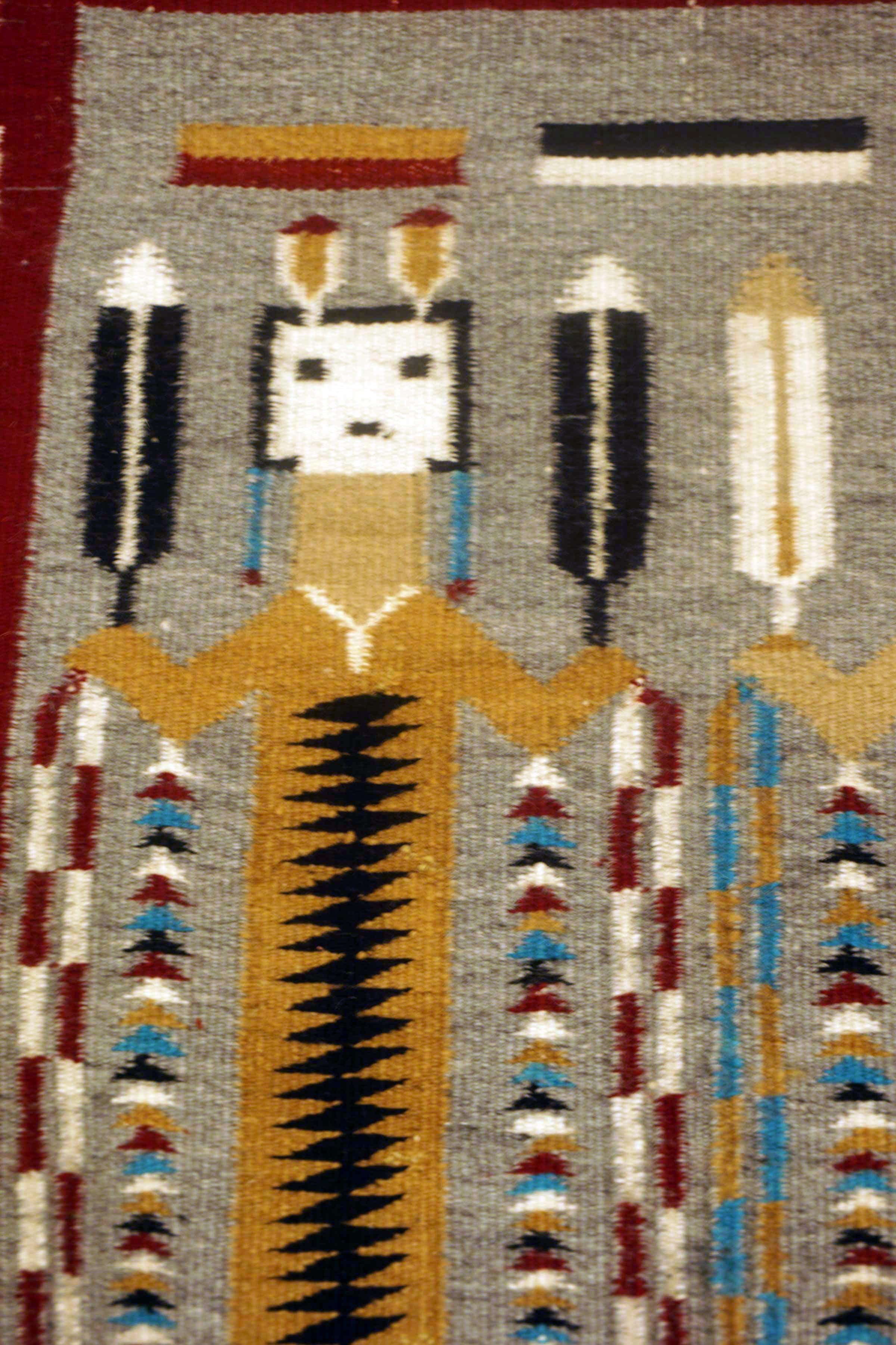 Two Female Yei Navajo Rug Weaving 846 Charley S Navajo