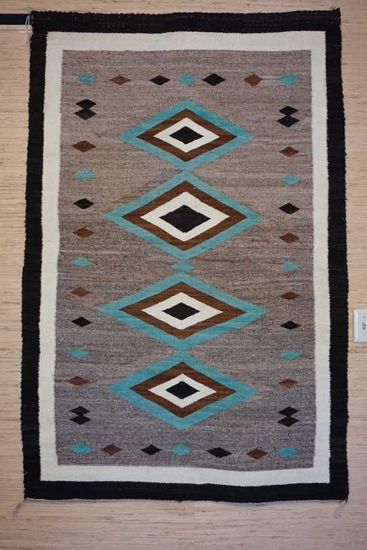 JB Moore Crystal trading Post Navajo Rug with Turquoise Diamonds