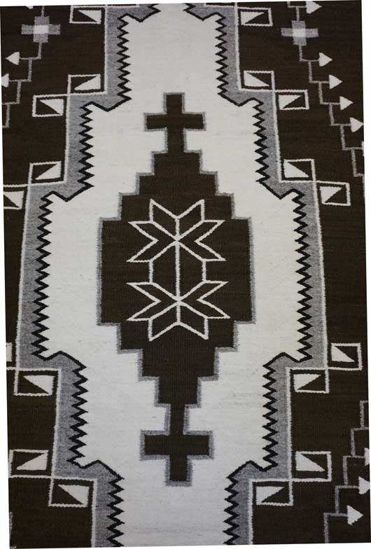 Natural Colored J. B. Moore Crystal Navajo Rug with a Large Diamond with Crosses in the Center