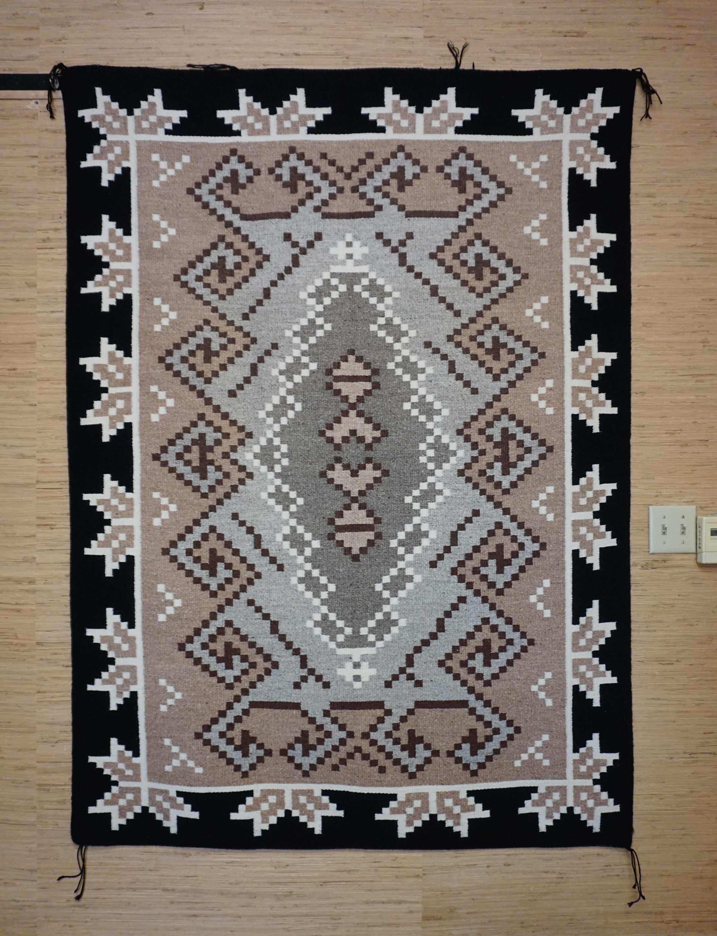 Large Two Grey Hills Navajo Rug With A Half Snowflake