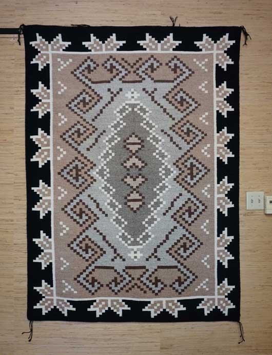 Large Two Grey Hills Navajo Rug with a Half Snowflake Border