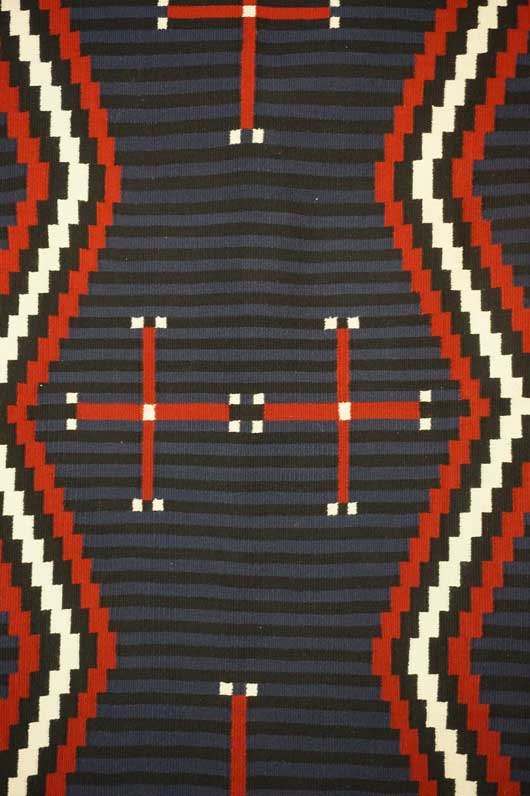 Moki Style Navajo Blanket with Spiderwoman Crosses