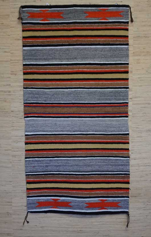 Banded Double Saddle Blanket with Chinle Stars Navajo Rug for Sale 963 for Sale