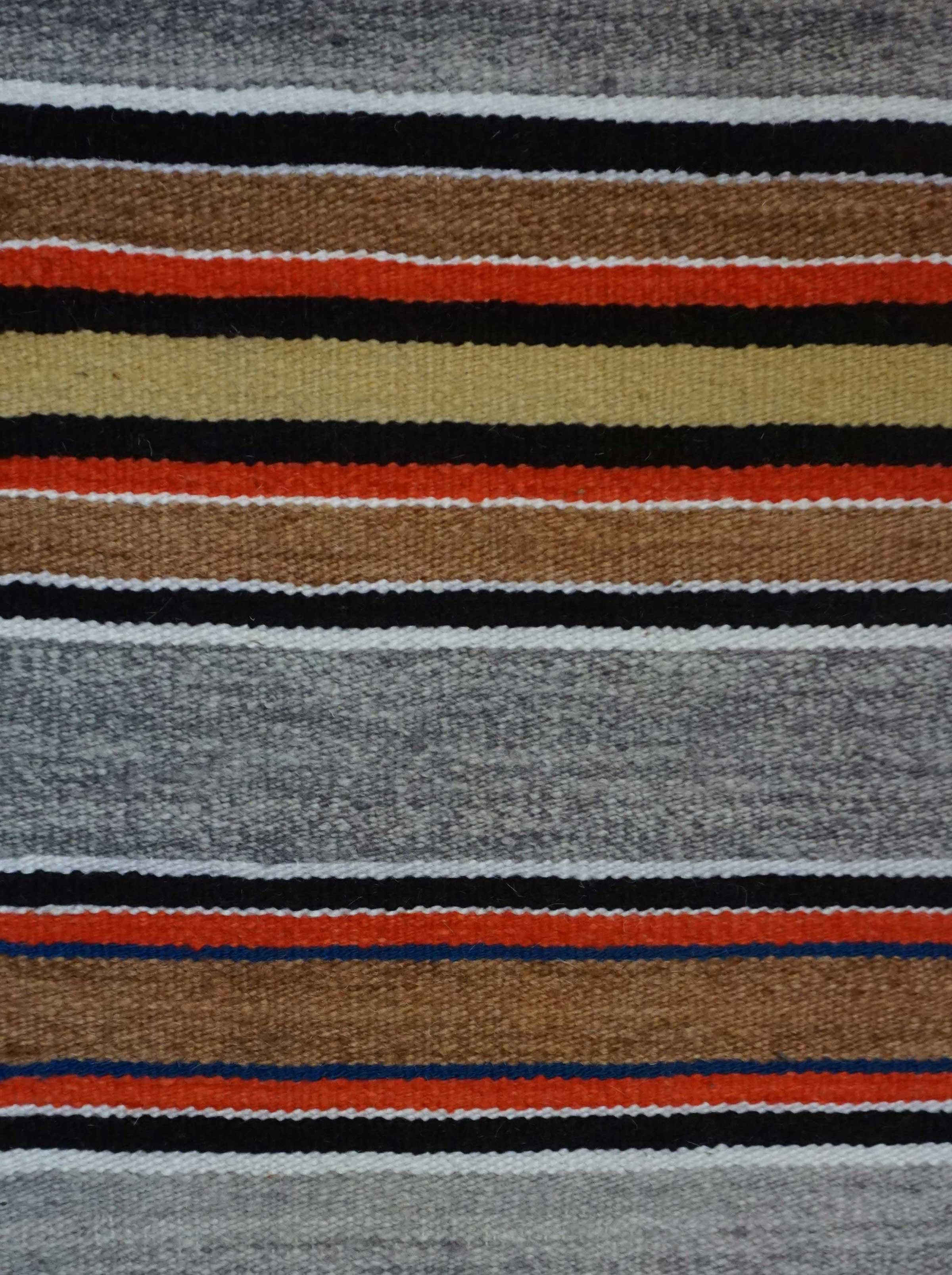 Banded Double Saddle Blanket With Chinle Stars Navajo Rug