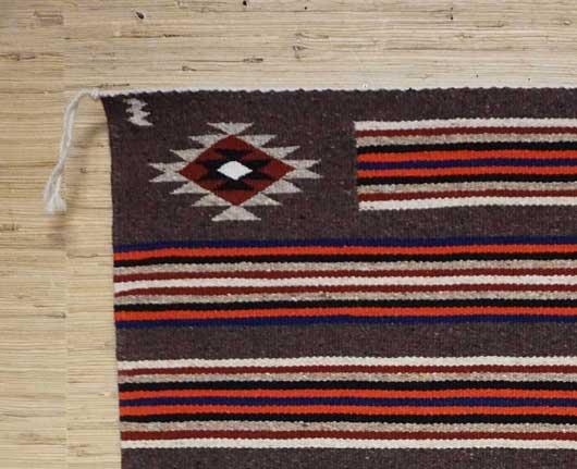 Banded Navajo Double Saddle Blanket with Chinle Stars in the Corners by Shirley Tsinnie 920