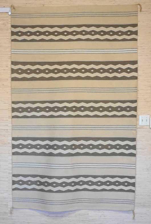 Banded Vegetal Dyed Wide Ruins Navajo Rug Weaving by Nellie Roan