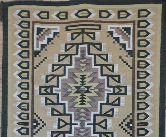 Classic Three Turkey Ruin Burntwater Navajo Rug Weaving 629