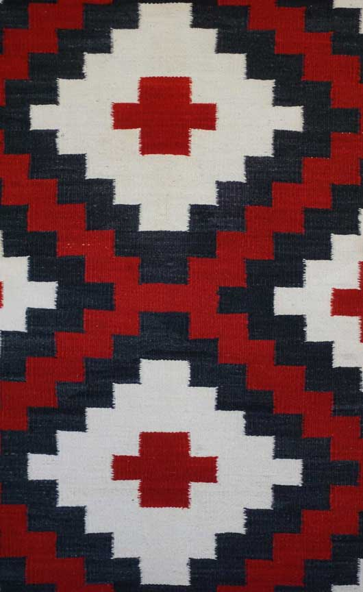 Connected Blocked Double Diamond Ganado Navajo Rug Weaving for Sale 660