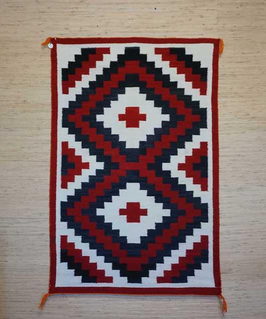 Connected Blocked Double Diamond Ganado Navajo Rug Weaving for Sale 660