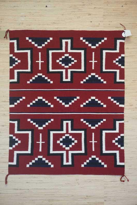 Contemporary Ganado Navajo Rug with a Hubble Revival Design 1005