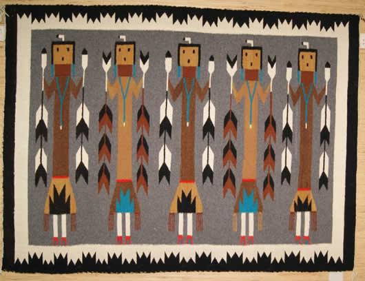 Yei Five Females Navajo Rug Weaving For