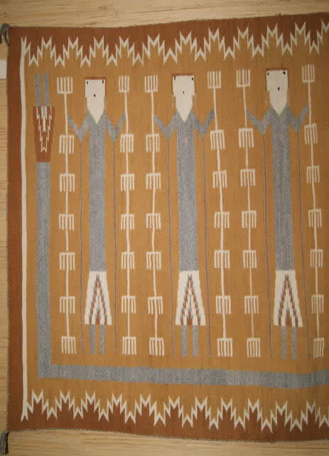 Rainbow Guardian Yei Navajo Rug Weaving For Sale