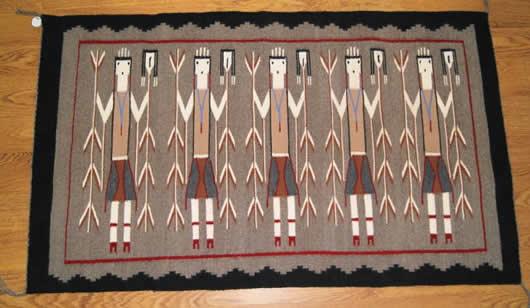Five Female Yei Navajo Rug Weaving For
