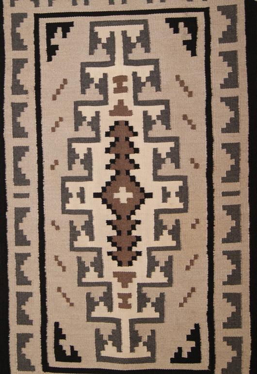 Contemporary Two Grey Hills Navajo Rug Weaving Circa 1980