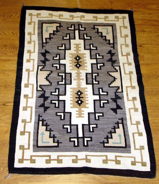 Two Grey Hills with Blue Navajo Rug