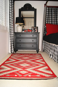 Storm Pattern Navajo Rug Accenting Bedroom