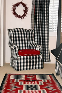 Storm Pattern Navajo Rug Accenting Bedroom